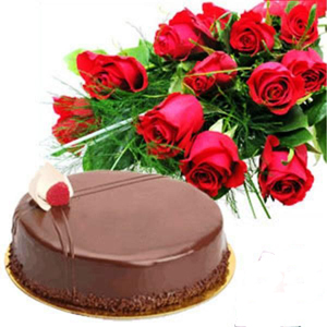 1Kg Chocolate Cake with 12 Red Roses