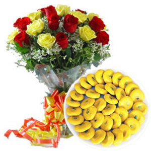 Kesar Peda with Roses