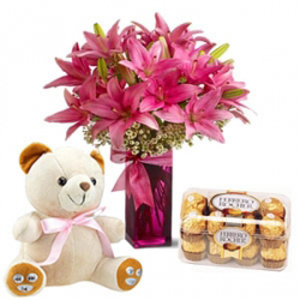 Lilies with Ferrero Rocher Chocolates and Teddy