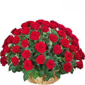 50 Red Roses Arrangement Basket