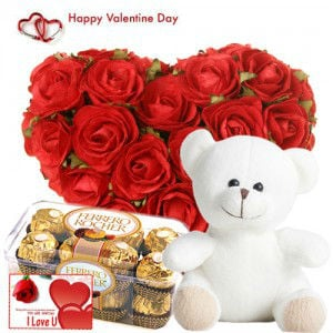 Heart Shape Roses, Teddy n Chocolates