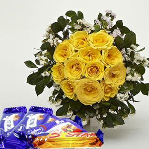12 Yellow Roses Bunch with Chocolates