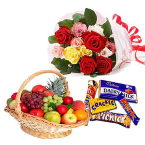 12 Mix Roses with 3 Kg Fruit Basket and Chocolates