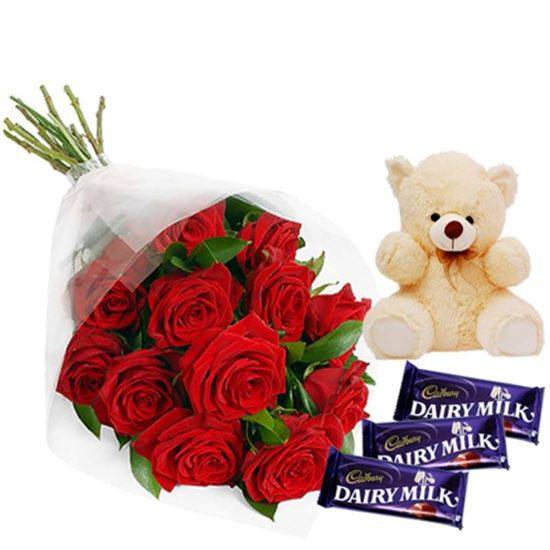 12 Red Roses Bunch with Teddy n Chocolates