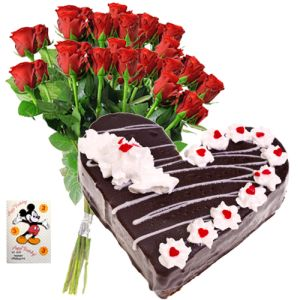 12 Red Roses, 1Kg Heart Shaped Black Forest Cake