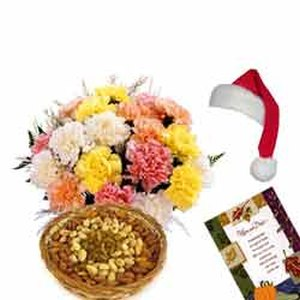 Mixed Carnations n Dry Fruits-Xmas