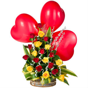Red Heart Shaped Balloons n Mixed Rose Basket
