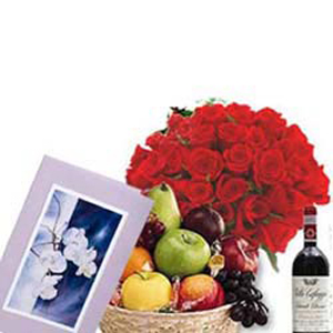 Roses with Fruit Basket and Wine