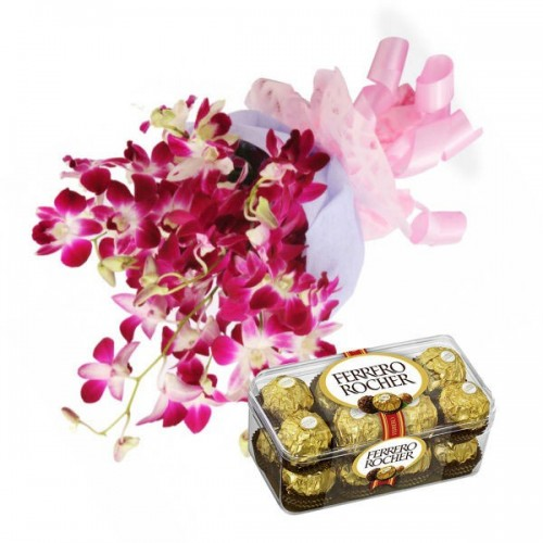Orchids with Ferrero Rocher Chocolates