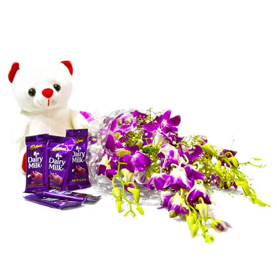 Orchids with Chocolates n Teddy