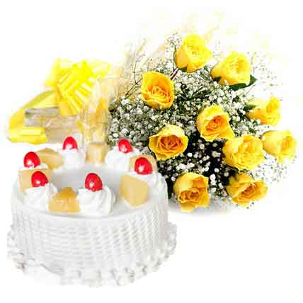 12 Yellow Roses with Cake