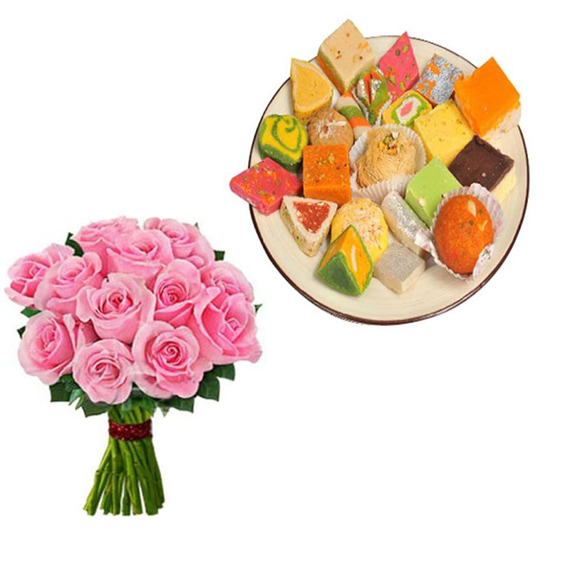 Pink Roses with Assorted Sweets