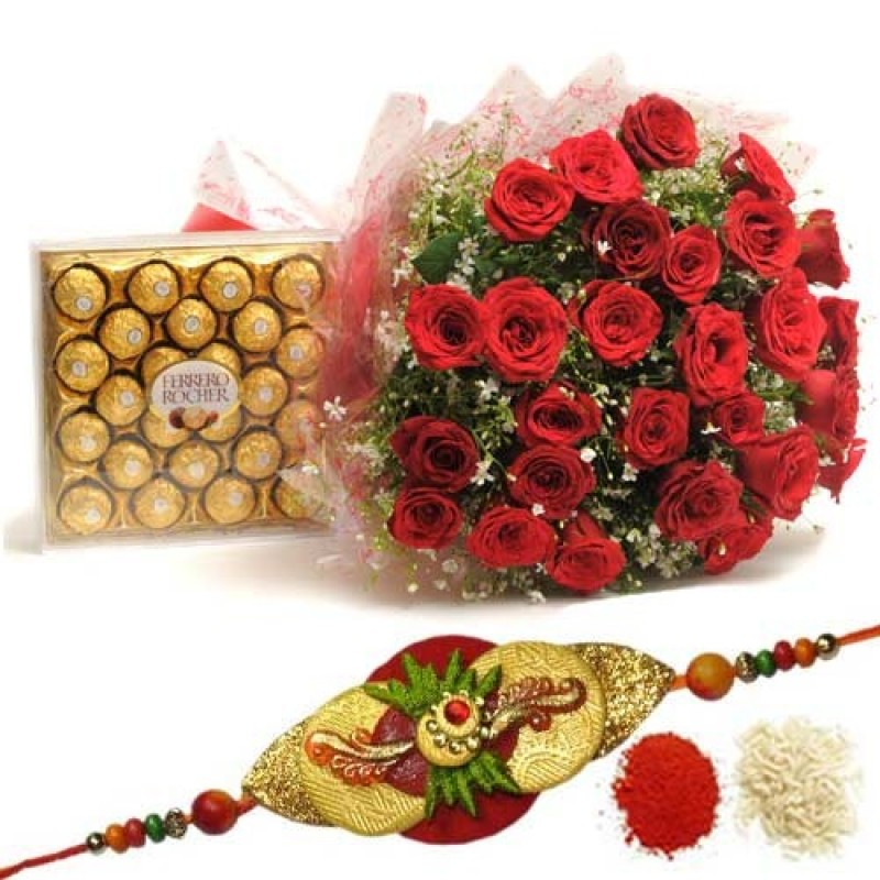 Rakhi with 25 Red Roses and 24Pcs Ferrero Rocher Chocolates