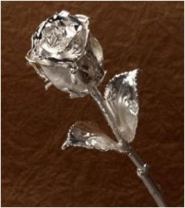 Silver Dipped  Rose 6 Inch