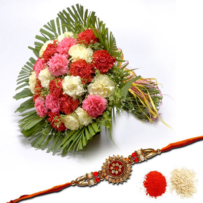 Rakhi N Mixed Carnations Bouquet