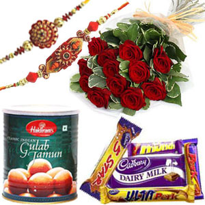 Rakhi with Roses, Gulab Jamun n Chocolates