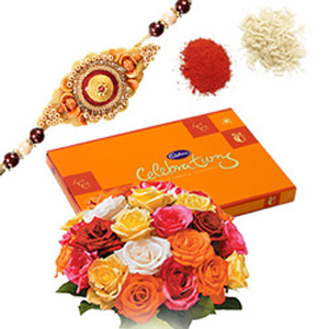 Rakhi with Roses n Celebration Choco