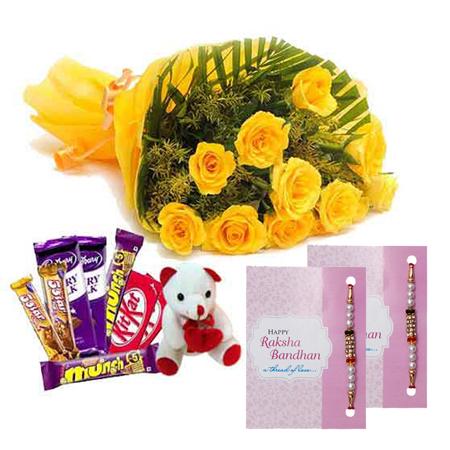 Rakhi with Yellow Roses n Chocolates