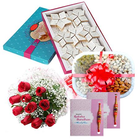 Roses with Rakhi Dry Fruit n Sweets