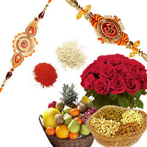 Roses, Fruits, Dry Fruits with Rakhis