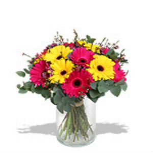 Red & Yellow Upglass Gerberas Arrangement