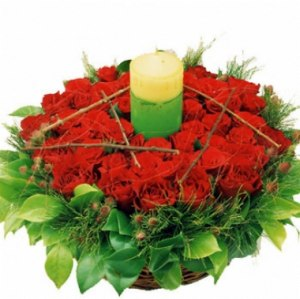 Red Rose Basket with Candle