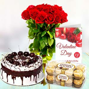 Red Roses with Black Forest Cake and Ferrero