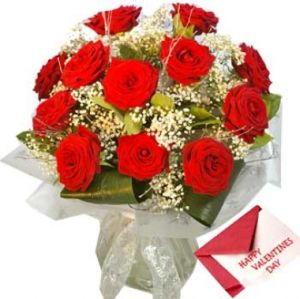 Red Roses with Valentines Greeting Card