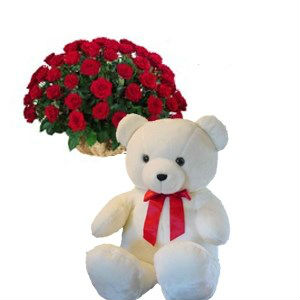 40 Red Roses Basket with Teddy Bear