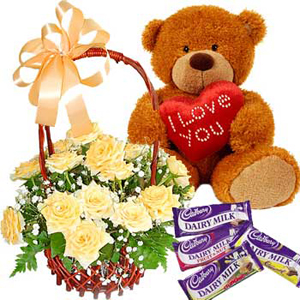 Rose Basket Teddy n Chocolates
