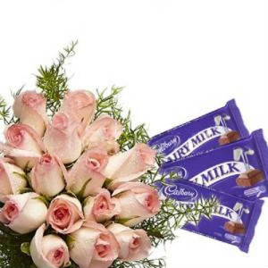 12 Pink Roses Bunch with Chocolates