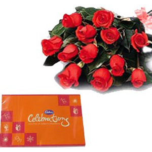 12 Red Roses n Cadbury Chocolates