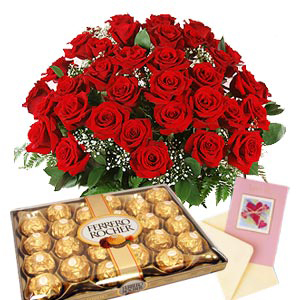 Roses with Ferrero Rocher Chocolates