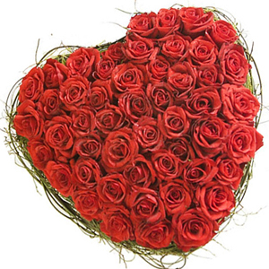 50 Red Roses with Heart Shape Arrangement