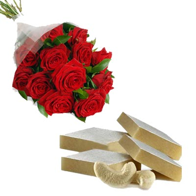 12 Roses with 500gm Kaju Katli Sweet