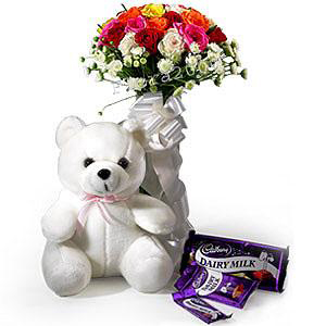Roses with Teddy n Chocolates