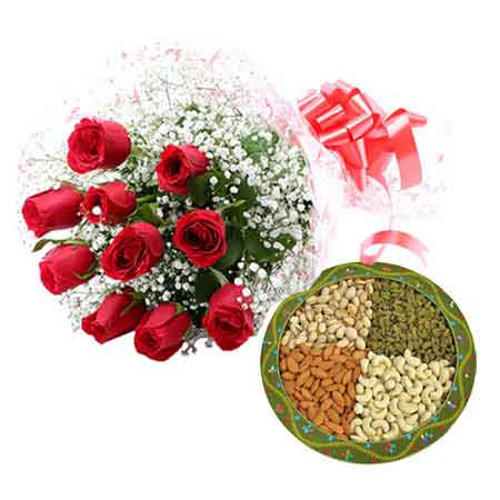10 Red Roses with 1/2Kg Mixed Dry Fruits Box