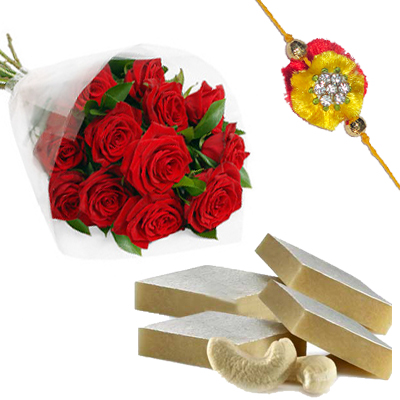 Rakhi with 12 Red Roses and 1/2Kg Kaju Katli Sweet Box