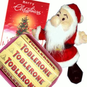 Santa with Toblerone Chocolates