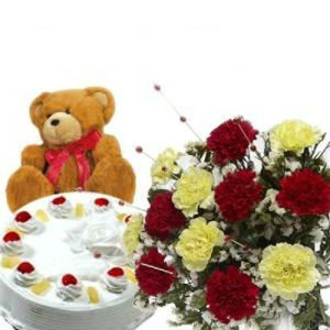 1/2 Kg Pineapple Cake, 12 Seasonal Flowers n Teddy