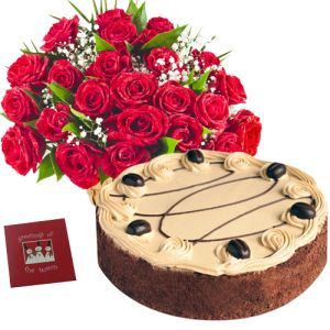 12 Red Roses with 1/2 Kg Chocolate Cake n Teddy