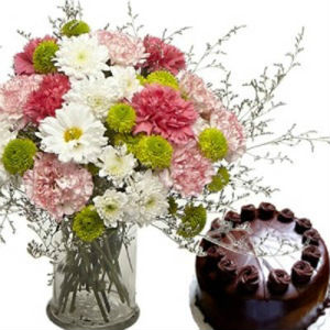 12 Mixed Flowers with 1/2 Kg Chocolate Cake