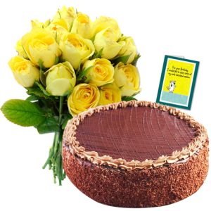 Yellow Roses, Cake n Greeting Card