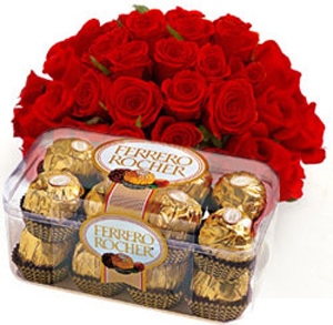 24 Red Roses with 16Pcs Ferrero Rocher Chocolates