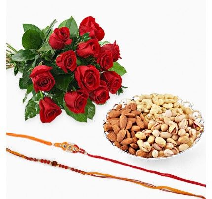 Two Rakhis with 500m Dry Fruits and 12 Red Roses