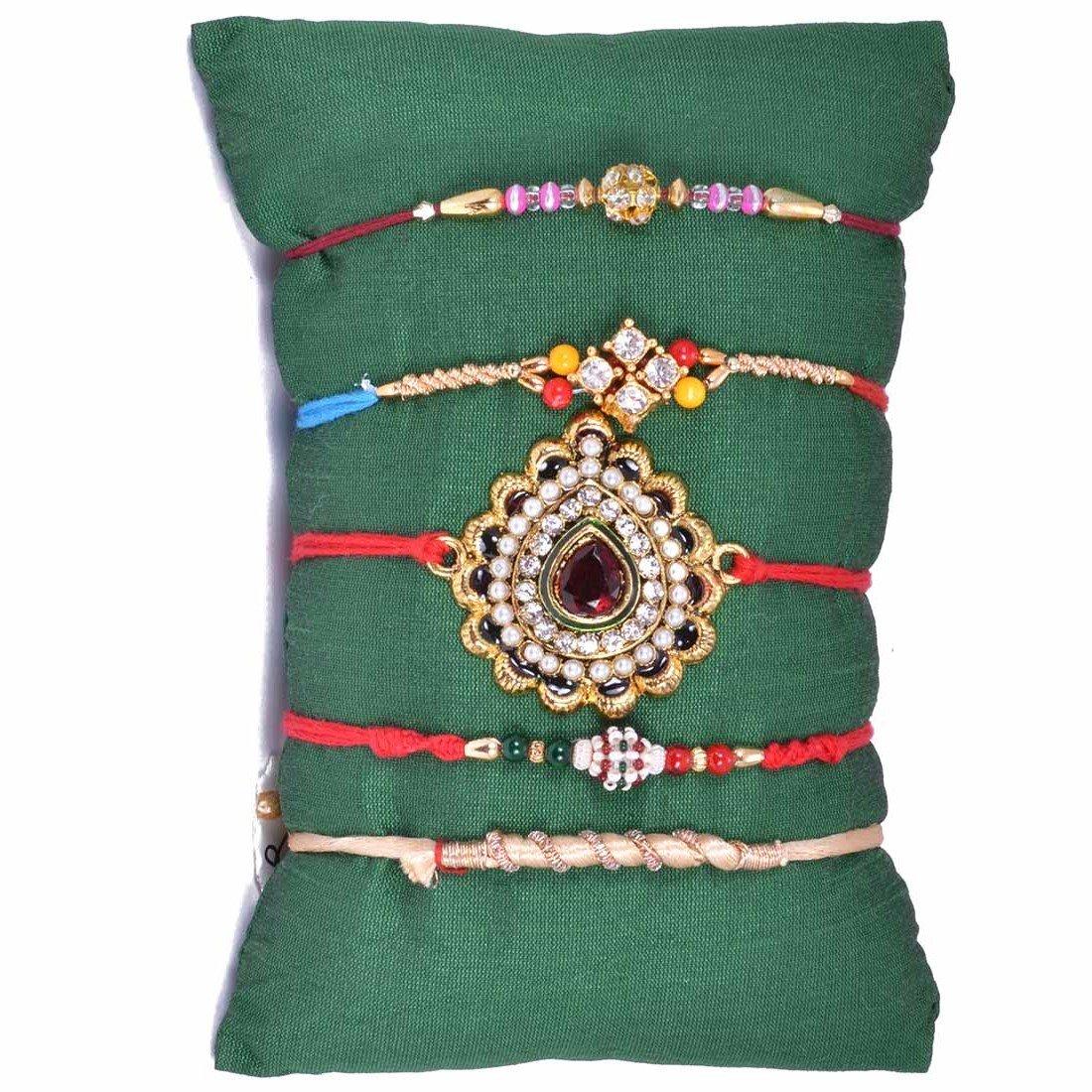 Ethnic Handcrafted 5 Rakhi Set
