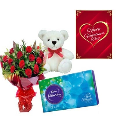 Valentine Red Roses Combo