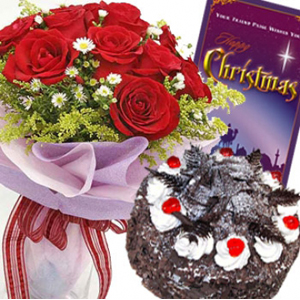 Red Roses with Christmas Black Forest Cake