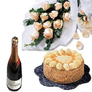 Send 12 Pink Roses Bouquet 1 2 Kg Pineapple Cake And Champagne To India