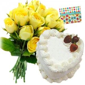 Yellow Roses n Heart Shaped Pineapple Cake